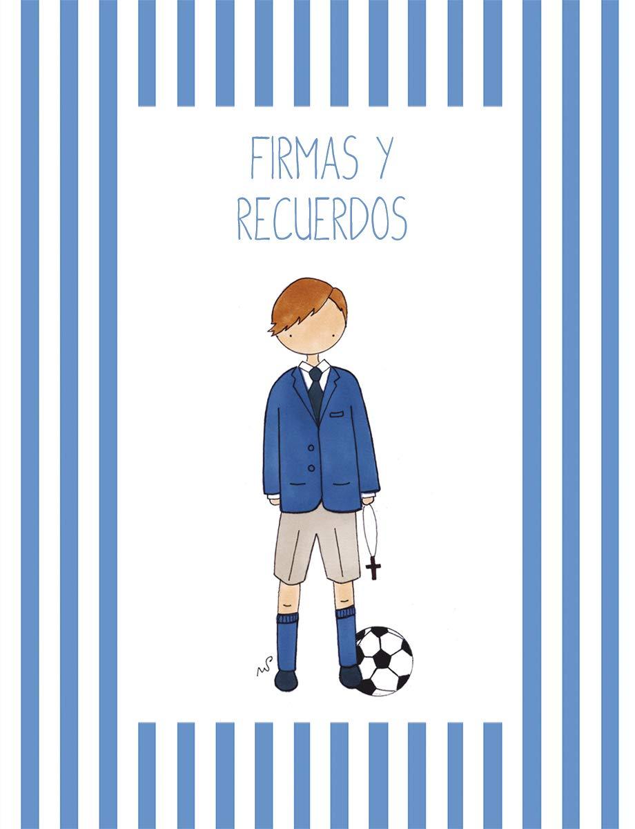 Mario Greca de Rayas Color Azul/ón- 30 x 30 cm. Libro de Firmas de Comuni/ón Cuadriman