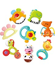 REMOKING Baby Rattle Teether Toys,8 Pcs Animal Teether Toy Set,Early Educational Toys,Wonderful Teething Gift Set for 3,6,9,12,18 Month Baby Infant,Toddlers,Newborn