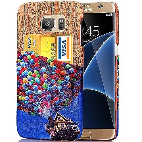 [Screen Protector Friendly] Samsung Galaxy S7 edge Case w/ Card Slot - Wood Pattern & Balloon Sales