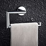 FAUMIX Brass Bathroom Towel Ring Wall Mount Square Open-Arm Towel Holder - Chrome Finish