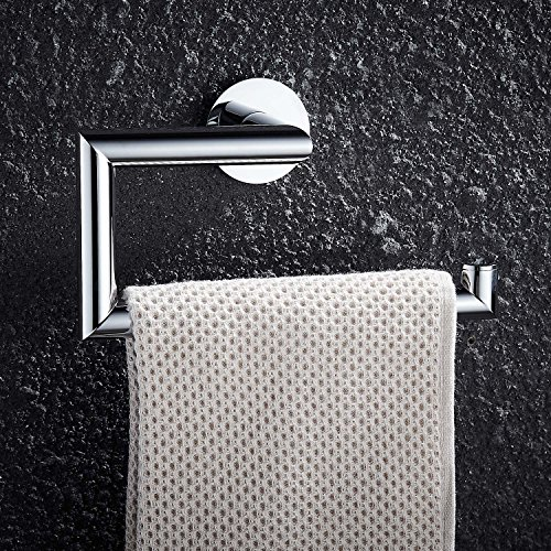 FAUMIX Brass Bathroom Towel Ring Wall Mount Square Open-Arm Towel Holder - Chrome (Chrome Hand Towel)