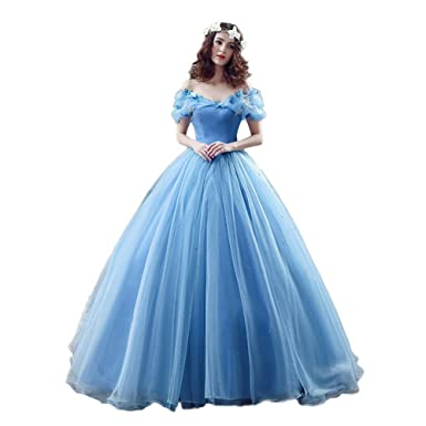 a5c2106c1a9 FloYoung 2016 Tulle Long Princess Cinderella Wedding Dress Ball Gown Blue 2