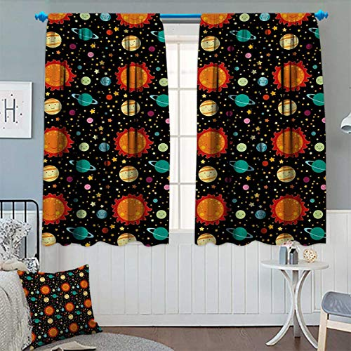 Chaneyhouse Space Waterproof Window Curtain Cute Celestial Elements Smiling Heavenly Bodies Sun Earth Saturn Jupiter with Stars Blackout Draperies for Bedroom 72