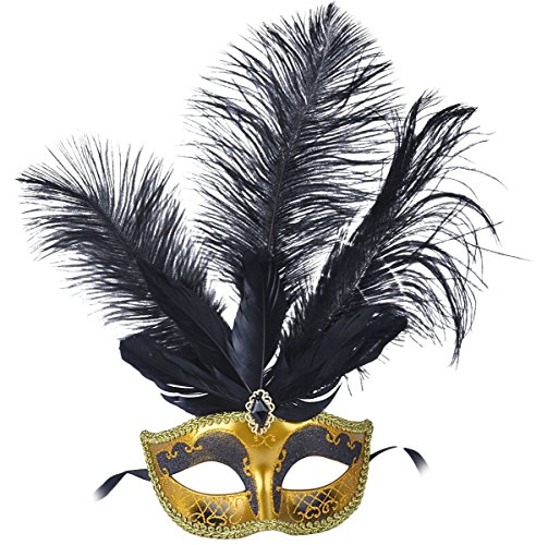 Masquerade Mask Fancy Feather Party Mask Halloween Costumes (Gold Mardi Gras Mask)