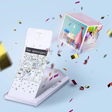 Boum Carte Anniversaire Explosion Confettis Cadeau A Effet Wow Joyeux Anniversaire Cartes De Voeux Surprise Pour Homme Femme Fille Garcon Amazon Fr Fournitures De Bureau