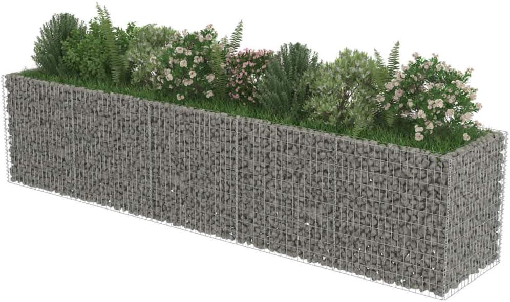 Festnight Jardinera de Gaviones Exterior Grandes de Acero 450x90x100 cm