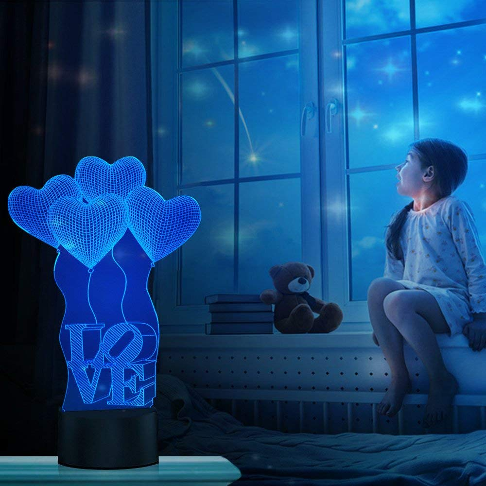 7 Colors Changing Heart Toys and Gifts for Lovers//Birthday//Valentines Day by YKL World Optical Illusion Night Light for Nursery//Decor//Living Room 3D Love Cupid Lamp