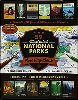 59 Illustrated National Parks Coloring Book Anderson Design Group 9780996777728 Amazon Books