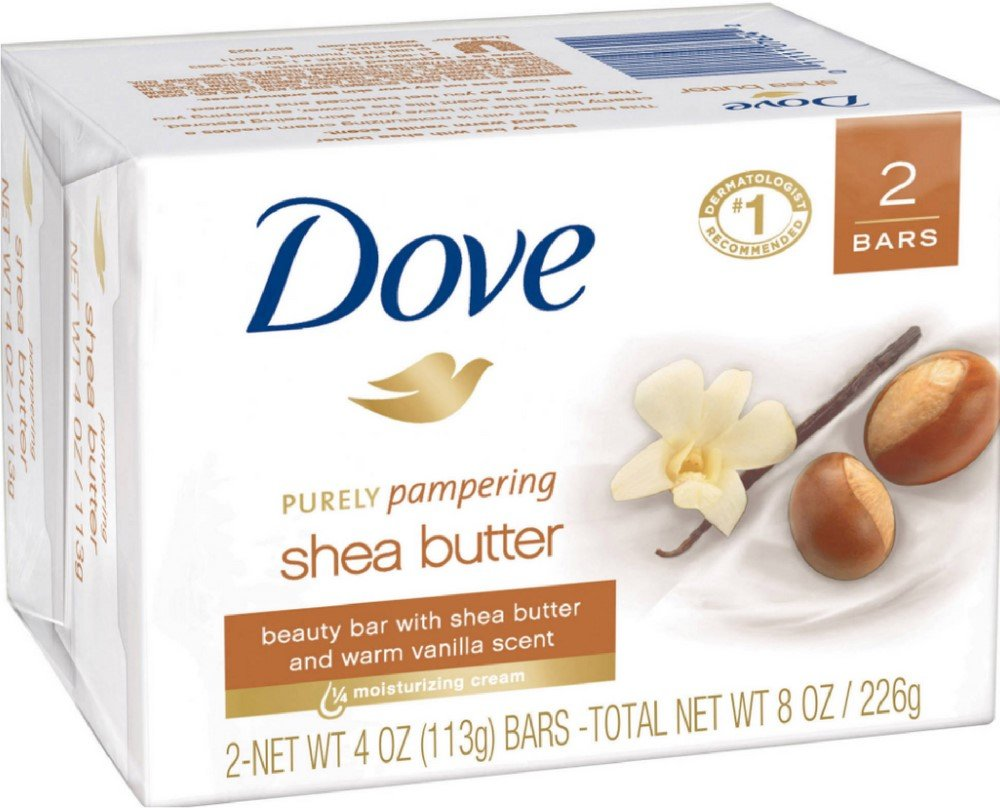 Dove Beauty Bar Soap - Purely Pampering - Shea Butter - 2 Count 4 OZ Bars Per Package - Pack of 2 Packages (Total of 4 Bars)