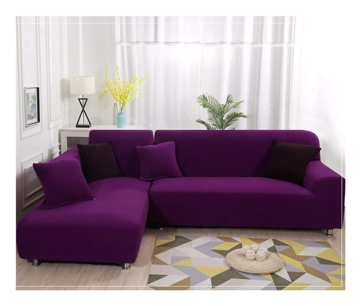 4seat VGUYFUYH Purple Knitted Sofa Cover Polyester Full Package Elasticity Home Universal Sofa Cover Simple Fashion One Set Durable Dust-Proof Pet Dog Predective Cover,4Seat