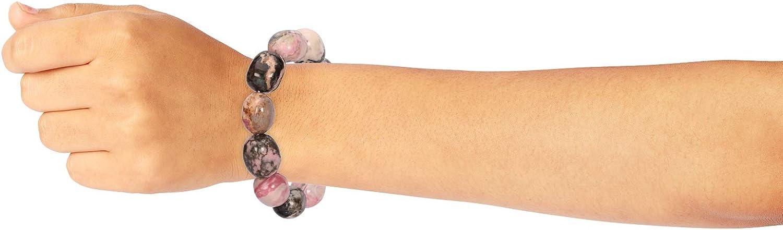 Rhodonite Crystal Bracelet Tumble Shape Polished Stretch 7 Premium Quality from SOE