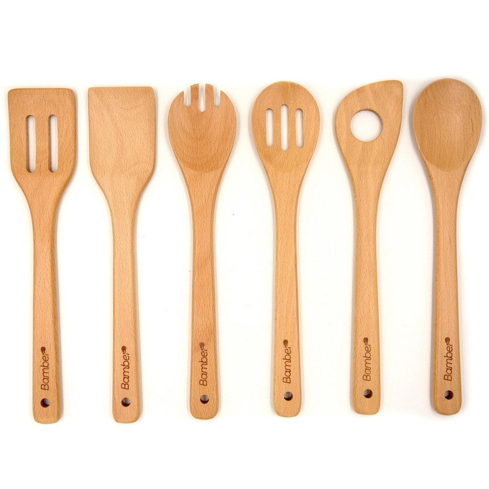 Amazon.com: Bamber Wooden 6 Piece Cooking Utensils, Wood Tool and ...