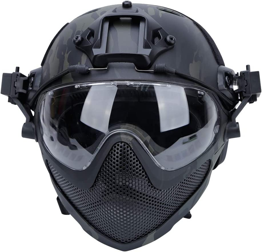 Tactical Full Face Protective Safety Mask CS Helmet W// Goggles Airsoft Riding BK