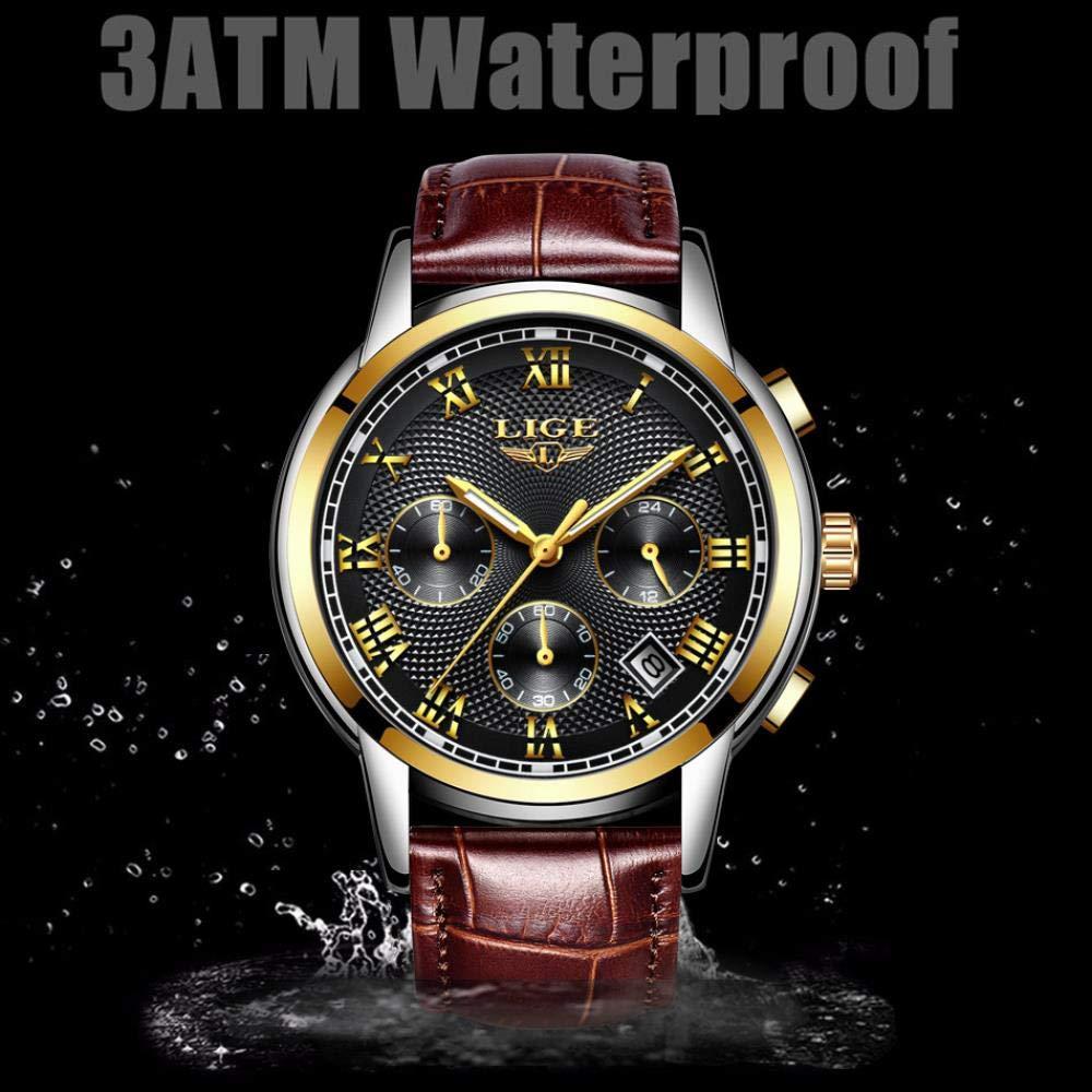 Herrklockor, sport affärer bälte vattentät multifunktionell korrugerad klocka Belt Gold Black