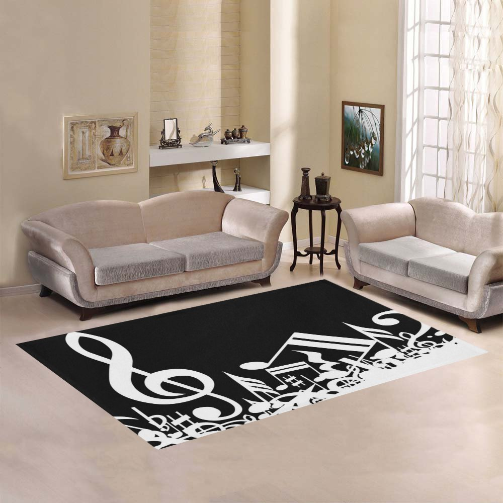 Love Nature Sweet Home Modern Collection Custom Black and White Music Note Area Rug 5'x3'3'' Indoor Soft Carpet by Area Rug (Image #1)