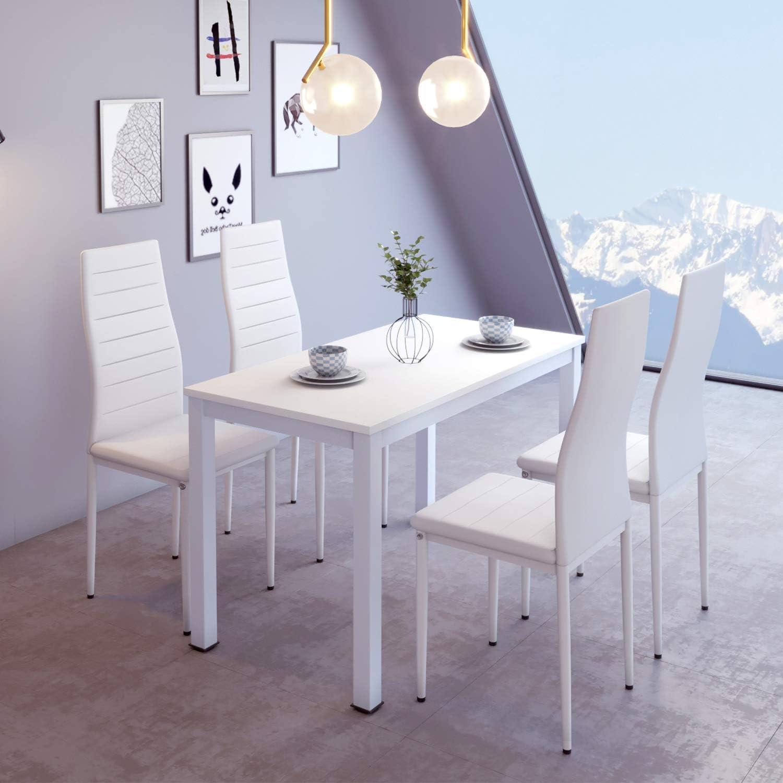 Juego de mesa y sillas de comedor de madera blanca, 4 sillas acolchadas de piel sintética, color negro, juego de mesa de comedor de cocina (mesa blanca y 4 sillas): Amazon.es: Hogar