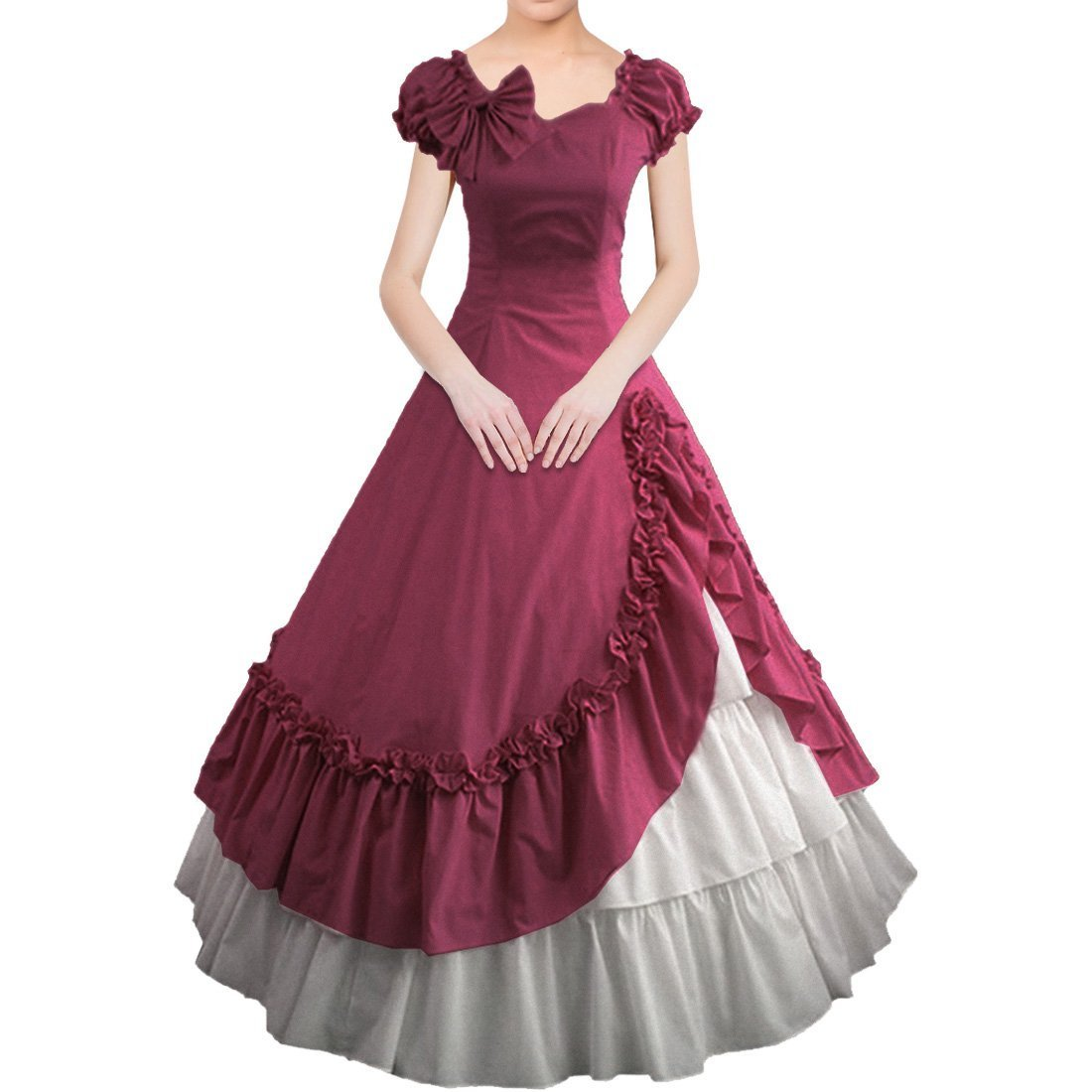 Partiss Womens Satin Ruffles Gothic Wedding Party Dress,XX-Large,WineRed