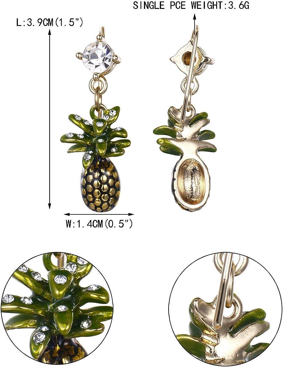 EVER FAITH Femme Cristal Autrichien Jaune /Émail Tropical Fruits Ananas Broche Vert Ton dor