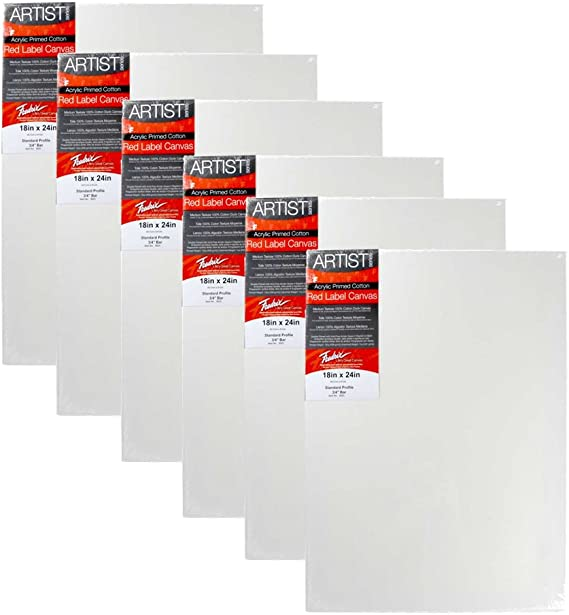 """18/"""" x 24/"""" Artist Series Red Label Fredrix Stretched Canvas 6 PACK"""
