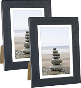 DBWIN 5x7 Picture Frame Black Wood Pattern Photo Frame Real Glass Front 2 Pack,Each Frame with Mat,Display 5x7 Pictures without mat or 4x6 Photos with Mat Wall Decor(LY01-5X7-BK)
