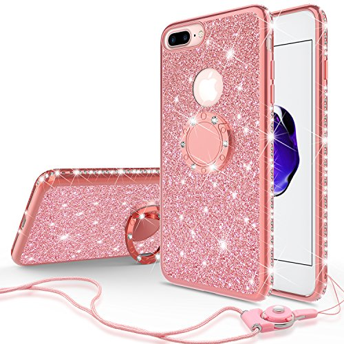 [GW USA] Glitter Cute Phone Case for Girls with Kickstand Compatible for Apple Iphone 8 Case,Iphone 7 Case,Bling Diamond Rhinestone Bumper with Ring Stand Thin Soft Sparkly iPhone 7/8 Case (Rose Gold)