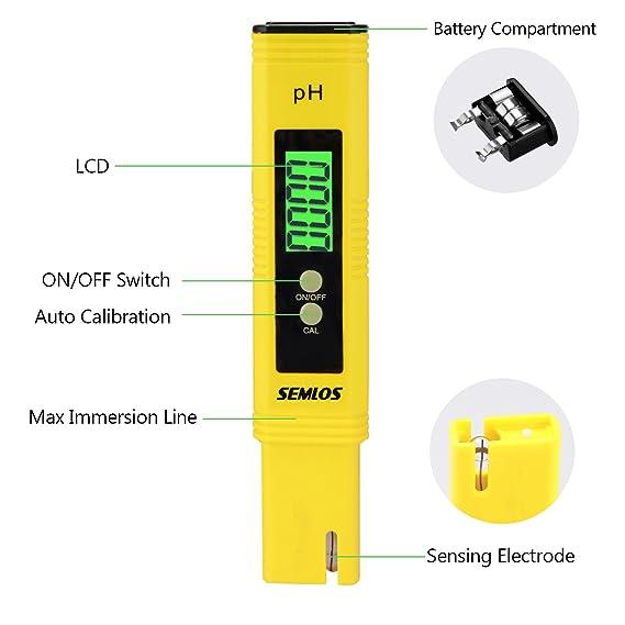 semlos - Medidor de PH de alta precisión, con luz ATC, rango de medición LCD, 0 - 14 pH, resolución 0,01, color amarillo: Amazon.es: Bricolaje y ...