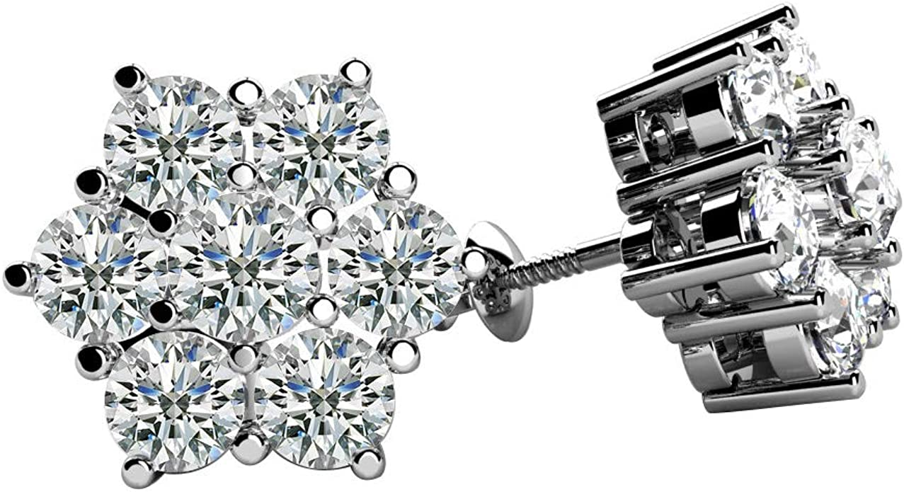 1 Ct Princess Cut Black Sim Diamond Men/'s Stud Earring Black Rhodium Plated