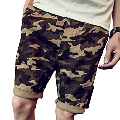 56151c77351d Yujeet Herren Sommer Kurze Hosen Straight Leg Bermuda Shorts Camouflage  Freizeithose für Strand Sports Jogging (