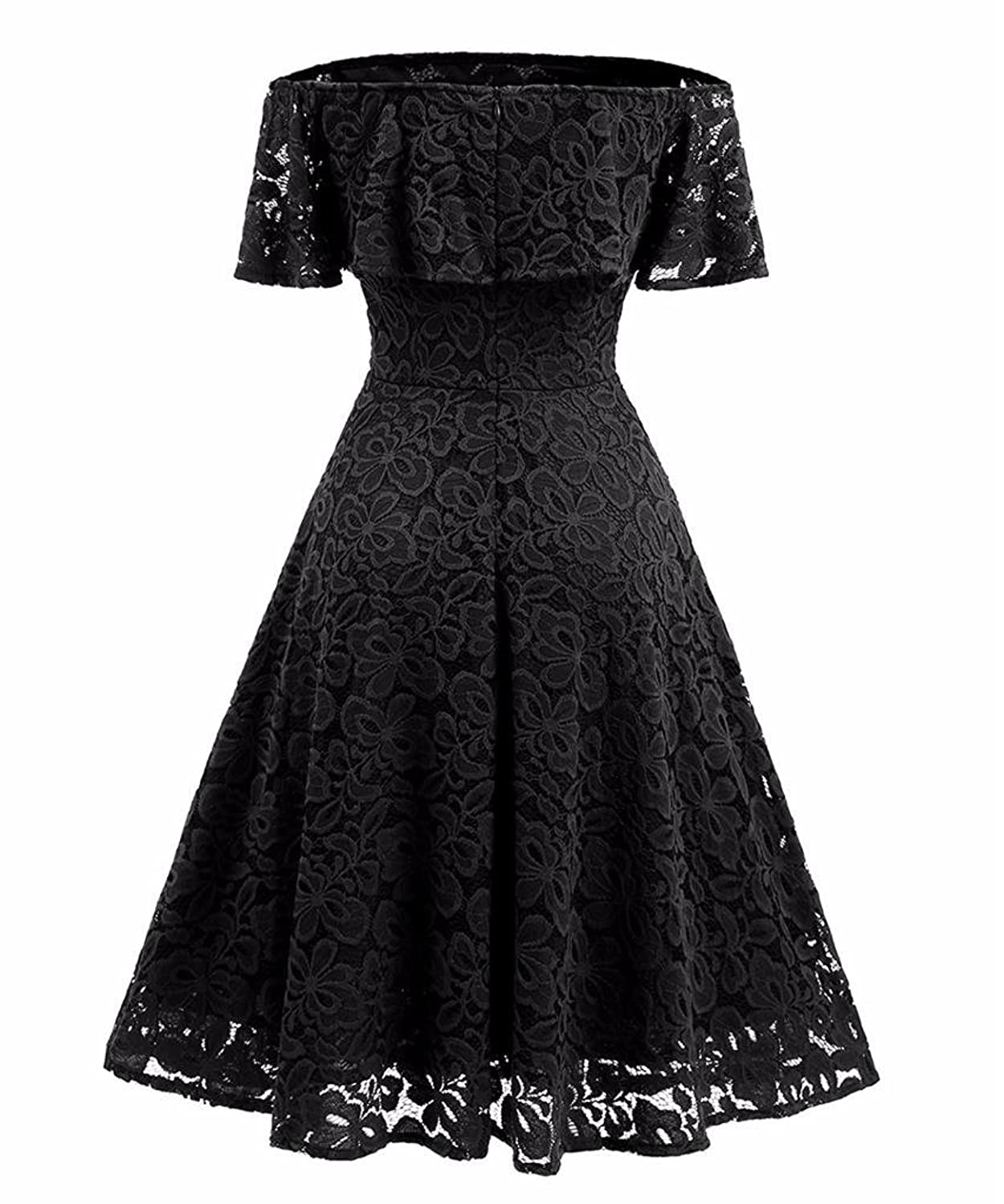 Changuan womens vintage floral lace off shoulder cocktail evening changuan womens vintage floral lace off shoulder cocktail evening party swing dress at amazon womens clothing store ombrellifo Images
