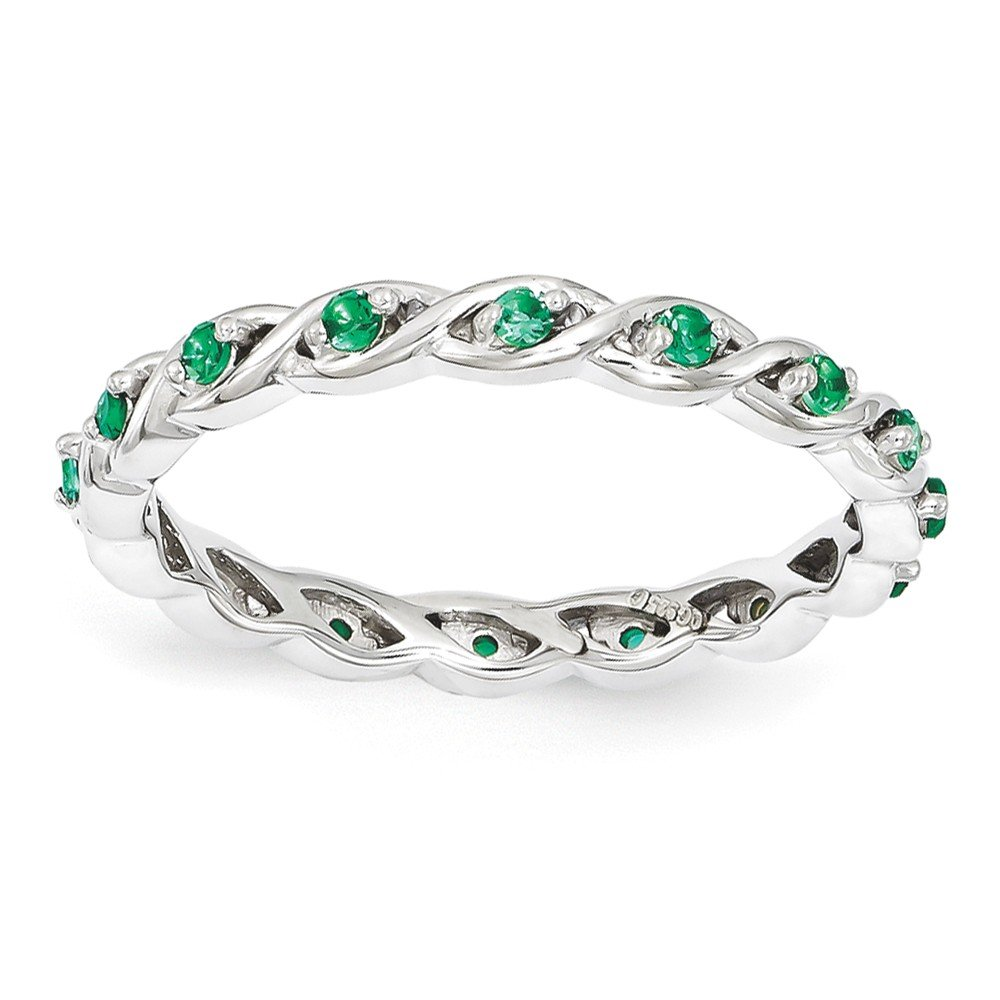 Top 10 Jewelry Gift Sterling Silver Stackable Expressions Created Emerald Ring