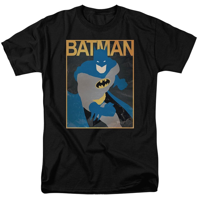 Batman DC Comics Rough Screenprint Blue Cape Bat Poster Adult T-Shirt