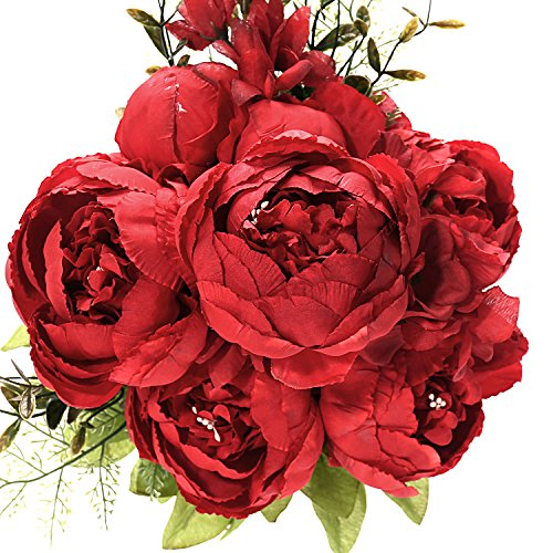 Fake Artificial Flowers Vintage Silk Peony Flowers Bouquet for Home Wedding Centerpieces Décor and DIY,Dark Red