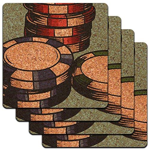 Poker Chips Casino Games Low Profile Cork Coaster Set