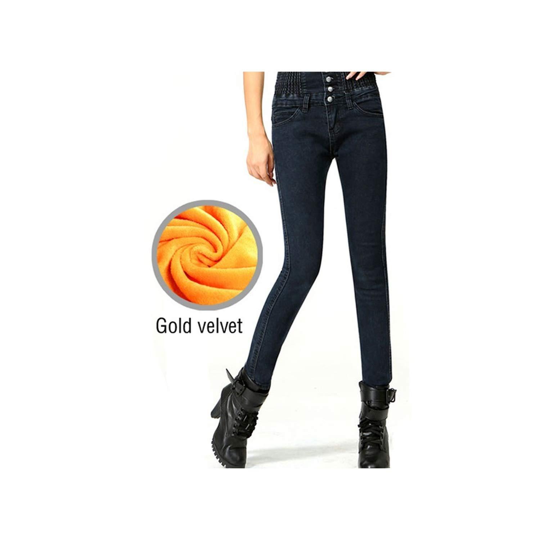 Blackvelvet meiguiyuan Women Elastic Slim Plus Size Denim Pants Thickening Pants Velvet Trousers