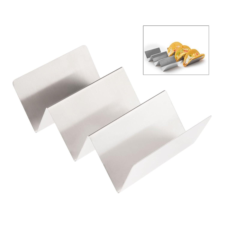Forma d' onda in acciaio INOX taco Holder display stand Hold 3duro o Soft Shell Tacos cibo cucina rack Shell, Acciaio inossidabile, 2Pcs Mgoodoo
