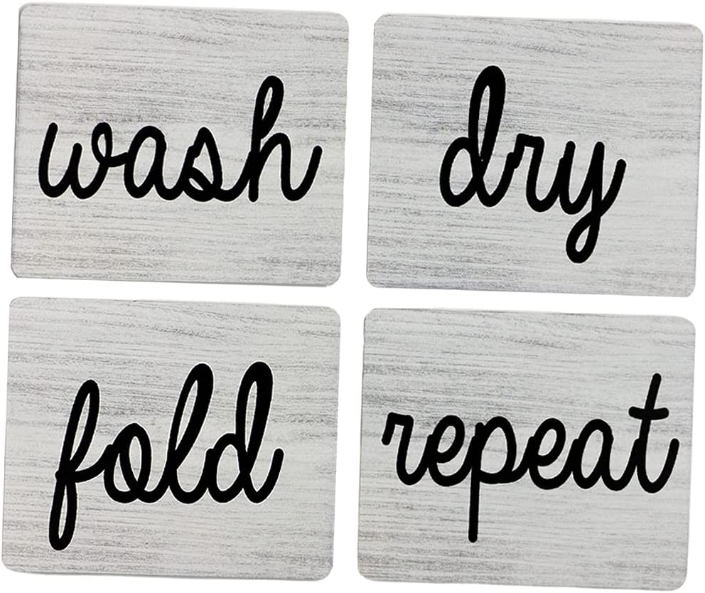 FAKEME Laundry Room Signs (Set of 4 Unframed), Wash Dry Fold Repeat Wall Signs, Wooden Plaques Wall Art Decor for Home Living Room Pantry Room Wall Hanging