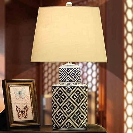 Wysm Lámpara de mesa de cerámica 35,5 * 61cm Retro Estilo ...