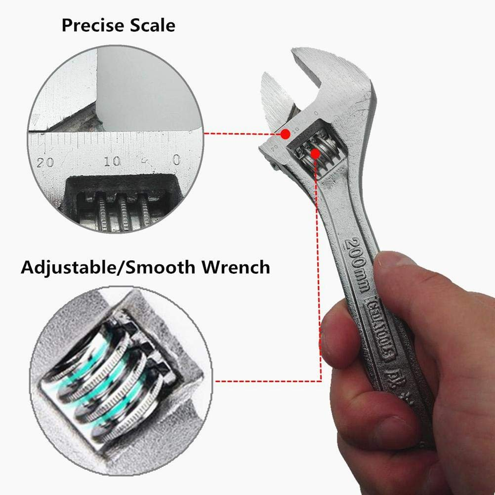 Adjustable Wrench 8 inch crescent wrench with scale