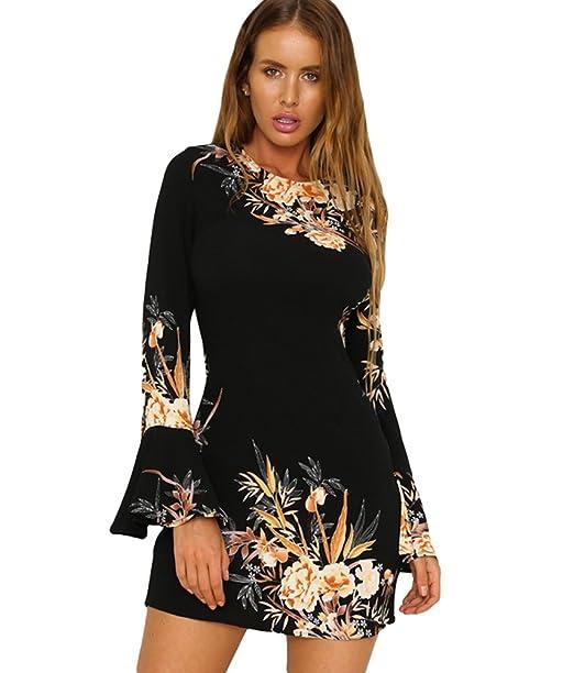 e816d7e8930e Sentao Donna Moda Stampato Vestiti da Sera Eleganti Corto Vestito Manica  Lunga Rotondo Collo Abito Camicetta  Amazon.it  Abbigliamento