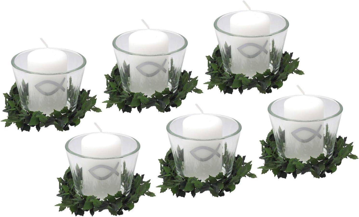 Tischdeko Taufe Kommunion Konfirmation rosa weiß Dekoring Fisch Votivglas Kerze