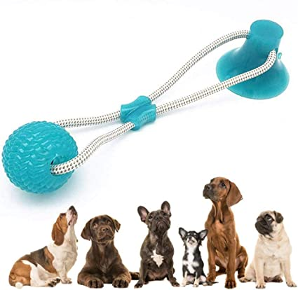 Dental Care for Dogs Puppy,Dog Teeth Cleaning Chew Toy Safe Elasticity Soft Tug Rope Ball with Suction Cup Multifunction Pet Molar Bite Toy Green