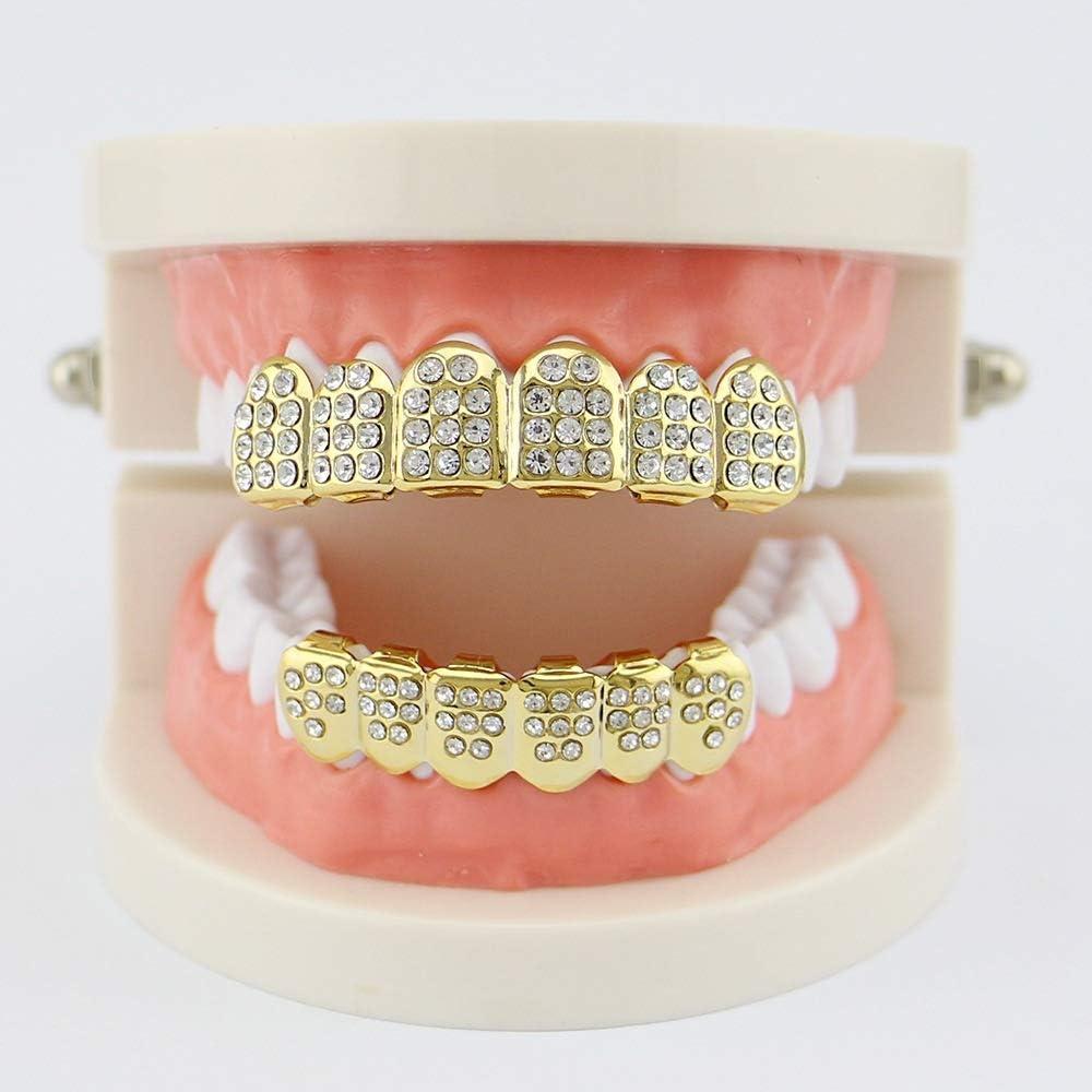 Universale 18k Placcato Dorato Top Bottom Set Teeth  Dente Griglie