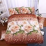FY Home Decora 3d Noble Flower 3pc Queen Size Bedset Quilt Duvet Cover Bedding Set