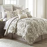 Sophia 8-Piece Modern Embroidered Comforter Set |Down Alternative Hypoallergenic Comforters |Comforter, Bed Skirt, Boudoir Pillow, Quilted Pillow and 4 Shams - Bed In A Bag Set, King