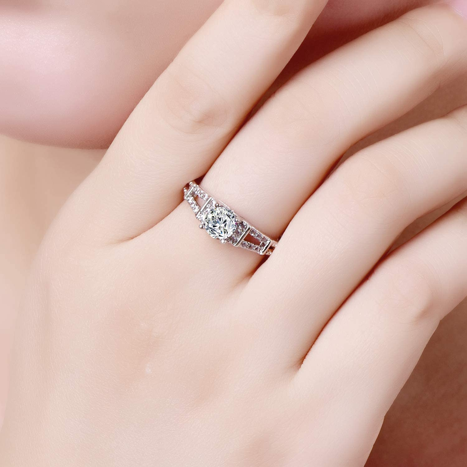 Veunora 925 Sterling Silver Plated Lab-Created Black Elegant Promise Proposal Engagement Wedding Rings for Women Girl Size
