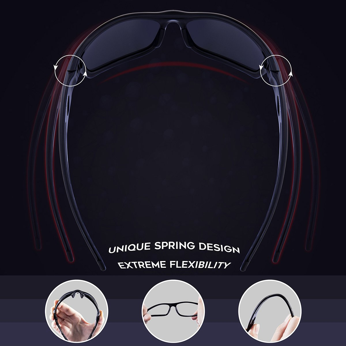 RIVBOS Polarized Sports Sunglasses Driving Sun Glasses Shades for Men Women Tr 90 Unbreakable Frame for Cycling Baseball Running Rb833 RB83305