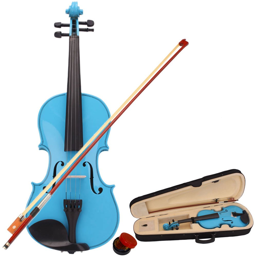 Lovinland 4/4 Acoustic Violin Blue Beginner Violin Full Size with Case Bow Rosin
