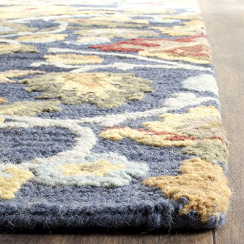 lection BLM402A Handmade Navy and Multi Premium Wool Runner (2'3