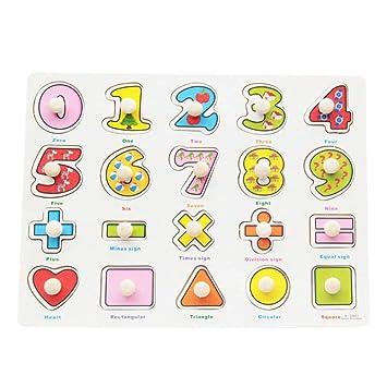 1642cbc47956 BOBORA Puzzles Infantiles de Madera Juegos Juguetes Educativos de Aprendizaje  Juguete Rompecabezas de Madera para Niños Pequeños de 1 Año (Números y ...