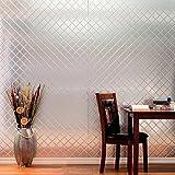 1 Piece Metallic Geometric Diamonds Design Plastic Bathroom Kitchen Tile, Shiny Geo Brush Aluminum Gem Textured, Modern Decorative Architecture Display, Artful Patio Wallpapers, Silver, Size 4' x 8'